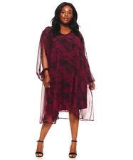 Womens Lined Chiffon Dress Slit Sleeves Tie Dye Burgundy Yummy Plus Size 4X