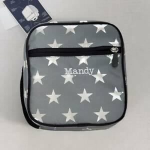 PB Teen Lunch Box Gear Up Classic Mandy Monogram Gray Silver Stars Pottery Barn
