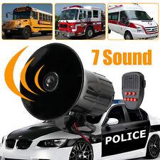 100W 7Sound Loud Car Warning Alarm Police Fire Siren Horn PA Speaker System150dB