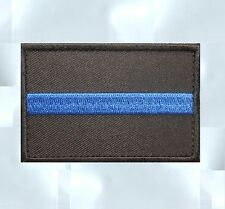 THIN BLUE LINE POLICE LAW ENFORCEMENT OFFICER SWAT VELCRO® BRAND FASTENER PATCH