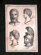 Metrodoro,Mercurio,Mitridate Incisione all'acquaforte del 1820 Mitologia Pozzoli