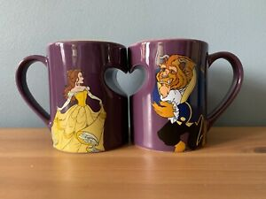 Disney Store BEAUTY AND THE BEAST Heart Ceramic Coffee Mug Cup Set COUPLES