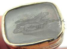 Victorian Gold Wax Seal Fob, Carved Intaglio of Fox, A/F.