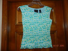AXCESS 100% Nylon Teal Green Geometric Lined Sleeveless Blouse Tank Top Sz S Liz