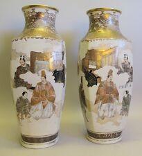 "Rare Pair of Antique 20"" Imperial Satsuma Pottery Vases c. 1890  Meiji Porcelain"