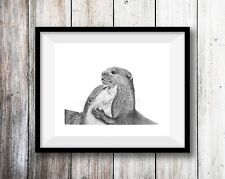 OTTER ART PRINT - Pencil Drawing Wildlife Animal Sketch A4 Wall Art Signed