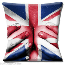 Union Jack Lady Cushion Cover 16x16 inch 40cm Pinup Breasts Hands England Flag