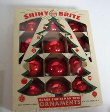 Vintage Box 50's SHINY BRITE Christmas Ornaments - ALL RED