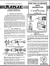 1976 Atlas 510A & M6-510A Mica Undercutter Instructions  Lathes  Instructions