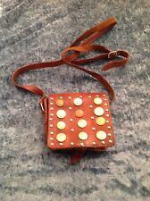 Vintage Handmade Leather Crossbody Handbag w International Currency Coins