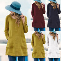 Women Casual Loose Linen Shirt With Pocket Button Daily Soild Blouse Tops Shirts