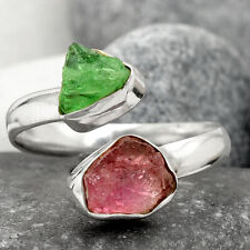 Pink Tourmaline Rough & Tsavorite Garnet Rough 925 Silver Ring s.9 Jewelry 3836