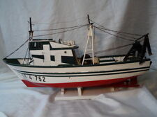 Vintage Style Maritime Wooden Display Model Fishing Trawler Ship Hand Painted
