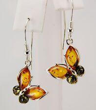 """Genuine Baltic Green & Honey Amber Butterfly Earrings 0.5"""" x 1.5"""" long"""