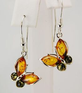 "Sale Genuine Baltic Amber Butterfly Earrings Green & Honey Amber 0.5 x 1.5"" long"