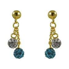Gold-Tone Silver Shamballa Inspired White Aqua Crystal Balls Earrings