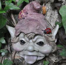 Garden Pixie Face Plaque Sculpture Statue Fairy Golbin Ornament H14cm Red 39136