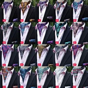 Men Fashion Paisley Jacquard Cravat Matching Hanky Ascot Pocket Square Set