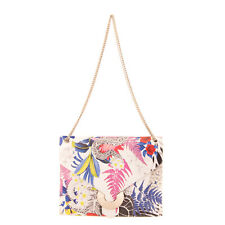 RRP €250 JUST CAVALLI Leather Crossbody Bag Tropical Chain Strap Made in Italy
