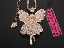 Betsey Johnson Fashion crystal angel Pendant Necklace Sweater chain charm BB17