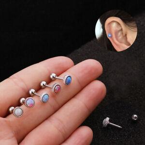 Simple Internally Threaded Round Opal Cartilage Helix Tragus Bar Stud Earring