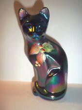 Fenton Glass Hyacinth Carnival HP Leaves Berries Stylized Cat Kitten Figurine