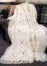TEXTURED Aran Squares Afghan/Crochet Pattern INSTRUCTIONS ONLY