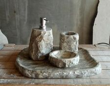 Hand Carved Real Stone Stainless Steel Soap Dispenser 4 piece set complete