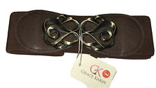 Women Large 70s Vintage Look Belt Extra Wide Stretch Waist brown  NWT