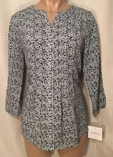 NWT Croft & Barrow Blouse Top Button Up Pleated Long Sleeve Paisley Floral Sz S