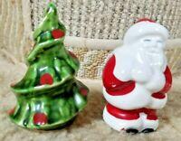 Vintage Ceramic Salt & Pepper Shaker Set Santa & Christmas Tree