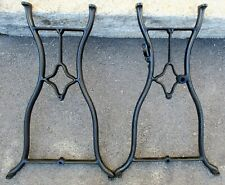"PAIR CAST IRON INDUSTRIAL TREADLE TABLE LEGS ANTIQUE  28 1/2"" high"