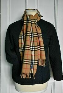 """Vintage BURBERRYS Classic Camel Nova Check Wool Scarf Made in Italy 62"""""""