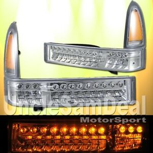FOR FORD F250 F350 EXCURSION AMBER LED CORNER CLEAR TURN SIGNAL LIGHTS PAIR