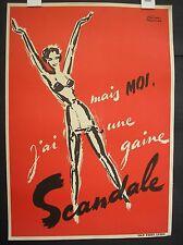 Lingerie poster 'Bas Scandale' 1950's vintage original Facon Marrec