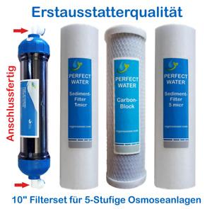 """10"""" Zoll Filterset 1/2 Jahre für 5 Stufige Osmoseanlagen Ersatzfilter Filter"""
