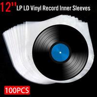 100Pcs Music Vinyl Record Antistatic Clear Plastic Cover Inner Sleeve 12'' LP LD