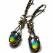 Ammolite Earrings Triplet Crystal Top -14k Gold Filled Wire Jewelry 86G5-95 ZP