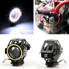 2 Pcs Motorcycle U7 Led Headlight High/Low Beam Light + Switch White Angle Eyes