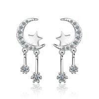 925 Sterling Silver AAA CZ Cute Moon Star Couple Stud Earrings Jewelry Gift