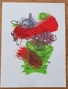 Author Original Watercolor Drawing Markers Rodrigo Bellinzona argentinian artist