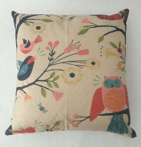"""Owl Birds Flowers Tan Cotton Linen Zipper Throw Pillow Cover Japan 18""""x18"""" NEW"""