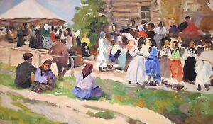 20th CENTURY RUSSIAN POST IMPRESSIONIST OIL - FIGURES HEADING TO SUNDAY CHURCH