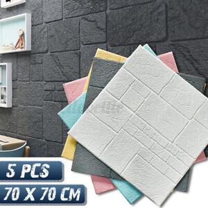 5/10X 3D Tapete Wandpaneele Selbstklebend Ziegelstein Wandaufkleber 70x70x0.85CM