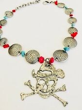 OH SO CUTE WESTERN BOOT BRACELET SILVER PIRATE RED TURQUOISE BEADS BOOT BLING