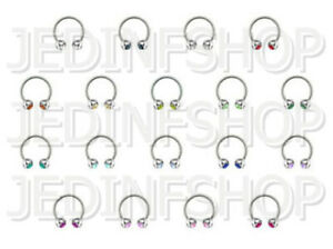 Circular Barbell Horseshoe Ring | 0.8mm (20g) - 8mm | Double Gem - 18 Colours