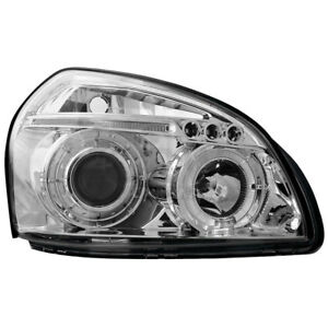 2 x Scheinwerfer LED für Hyundai Tucson 04+ 1 Angel Eyes chrome