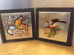 Pair of Slate Mounted Metal Wall Hanging Pictures - Butterflies & Bullfinch (?)
