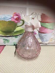 Glass Decorative Pot With Glass Bird Stopper Shabby Chic