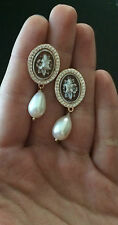 Orecchini in argento 925 Rosè Cammeo sardonico zirconi fiore perla made in Italy